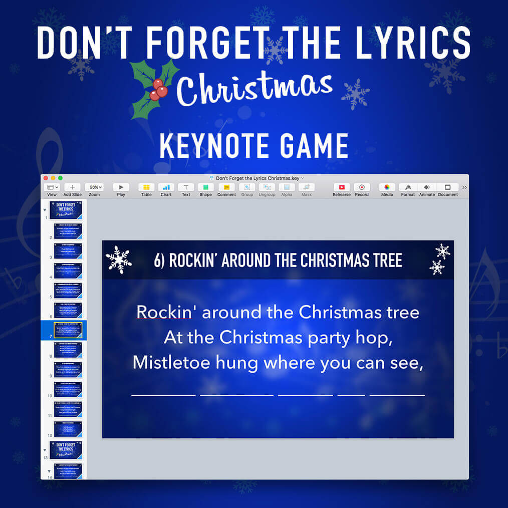 Dont Forget The Lyrics Christmas Keynote Game Mactemplates