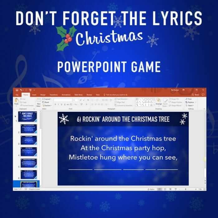 Don't Forget the Lyrics Christmas PowerPoint Game 2