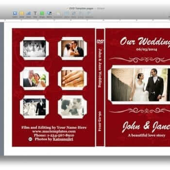 Wedding DVD Cover Template for Pages
