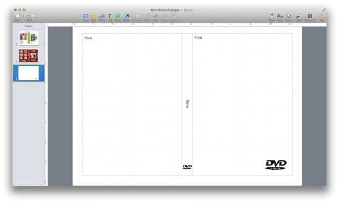 Blank DVD Cover Template for Pages
