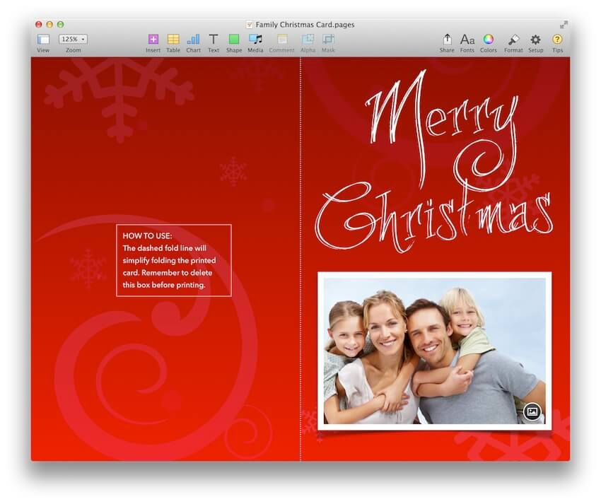 Family Christmas Card Template For Pages