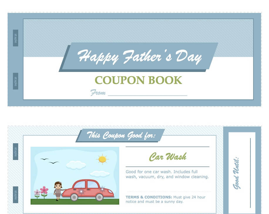 Fathers Day Coupon Book Template for Pages