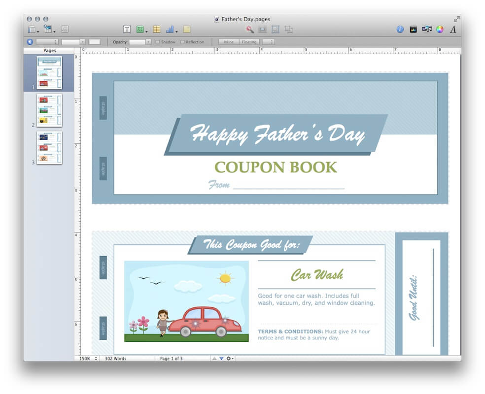 father 39 s day coupon book for apple pages. Black Bedroom Furniture Sets. Home Design Ideas