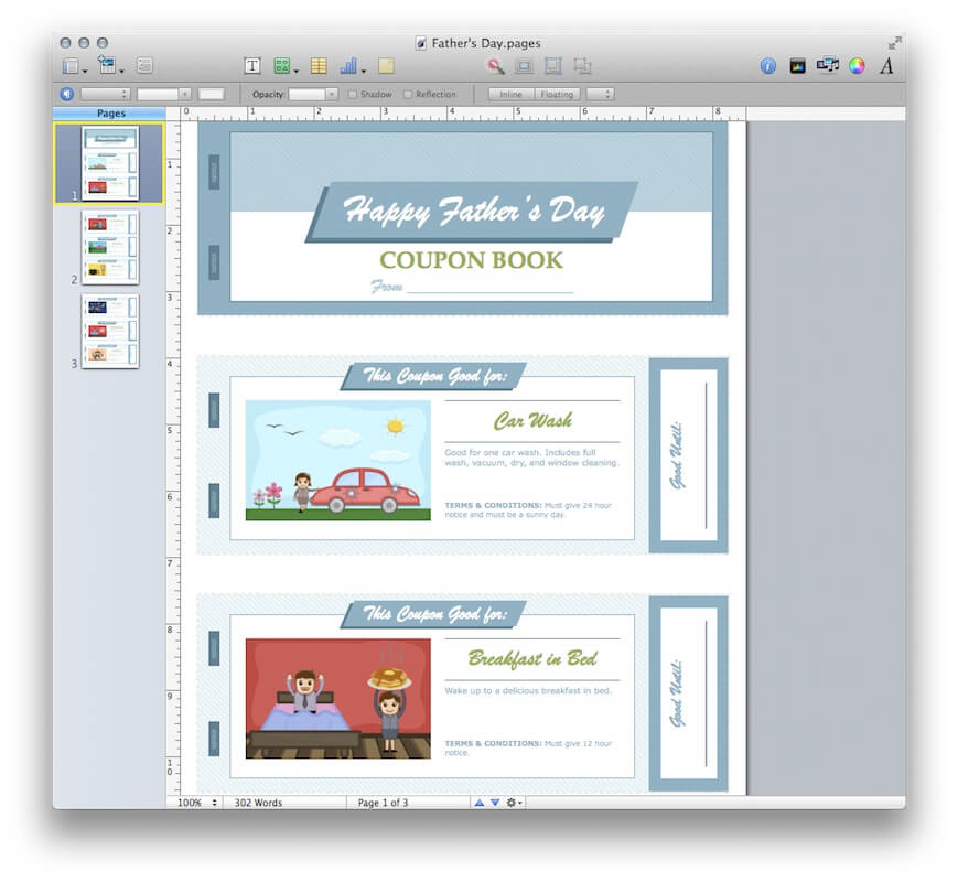 Father  39 s Day Coupon Book for Apple Pages  MacTemplates