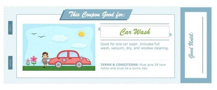 Father's Day Coupon Book for Pages - Car Wash