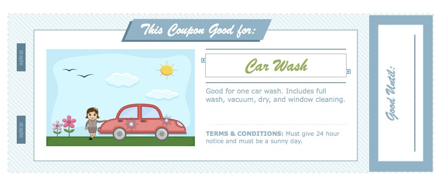 Father 39 s day coupon book for apple pages for Car wash coupon template