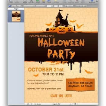 Halloween Party Invitation for Pages