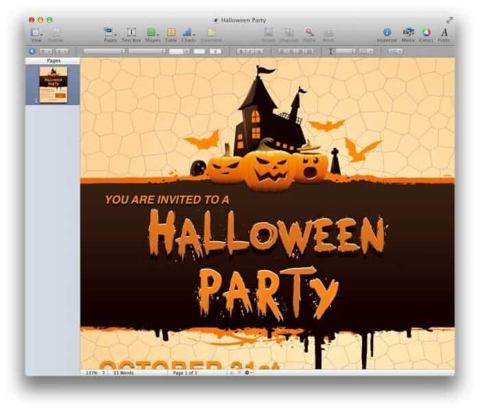 Halloween Party Invitation Template 1