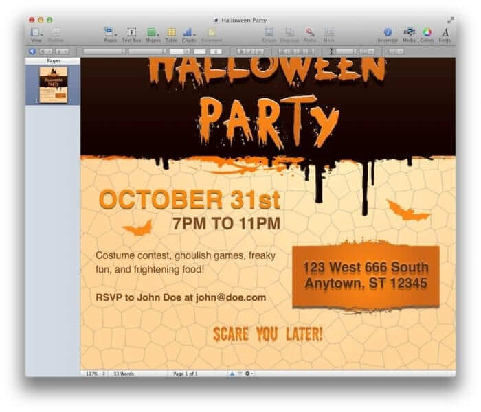 Halloween Party Invitation Template 2