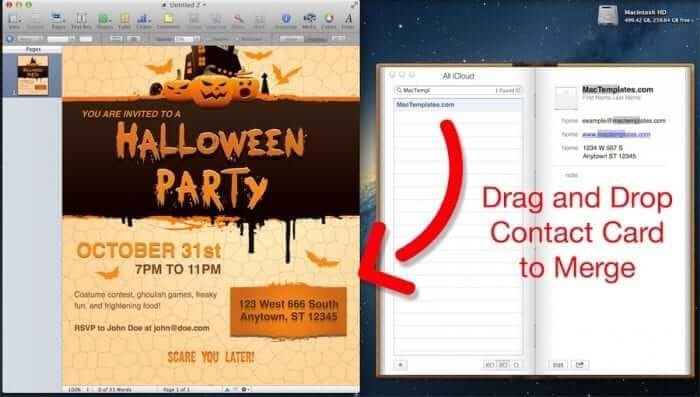 Halloween Party Invitation Mail Merge