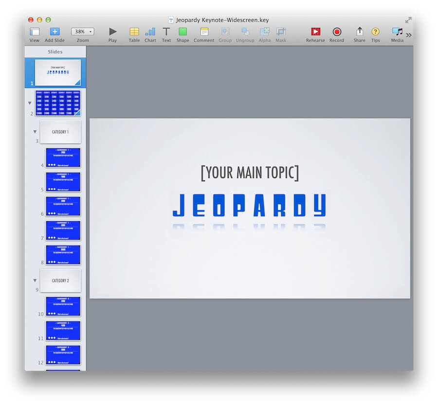 Examples Of Jeopardy Categories: Keynote Jeopardy Template For IPad And Widescreen