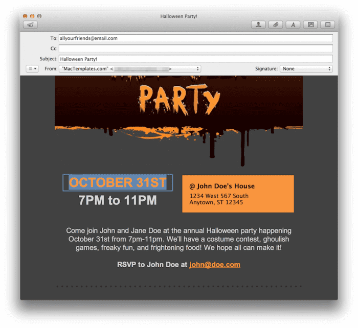 Edit the Halloween Party Date in Mail