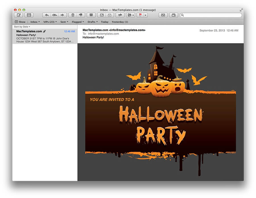 halloween party email invitations for apple mail mactemplates com