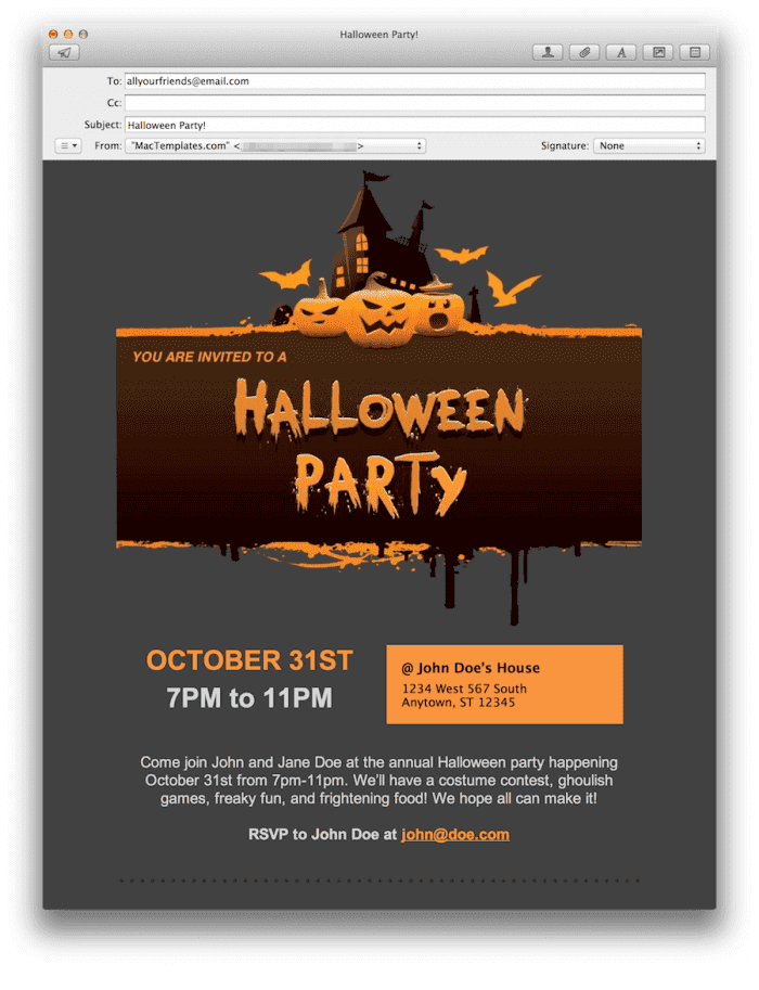 Halloween Party Invite Email Stationary for Apple Mail