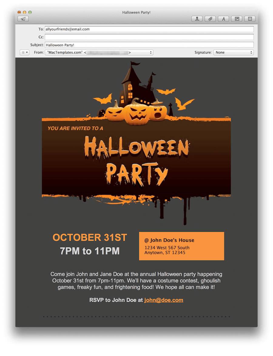 halloween party email invitations for apple mail