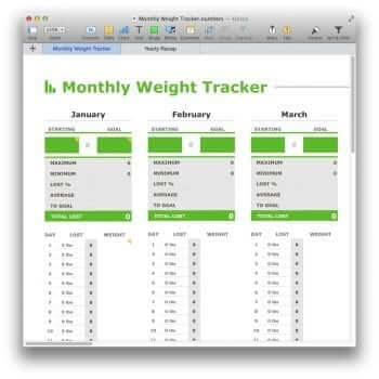 (Blank) Monthly Weight Tracker Template for Numbers