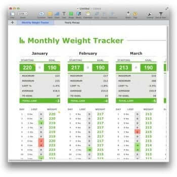(Demo) Monthly Weight Tracker Template for Numbers