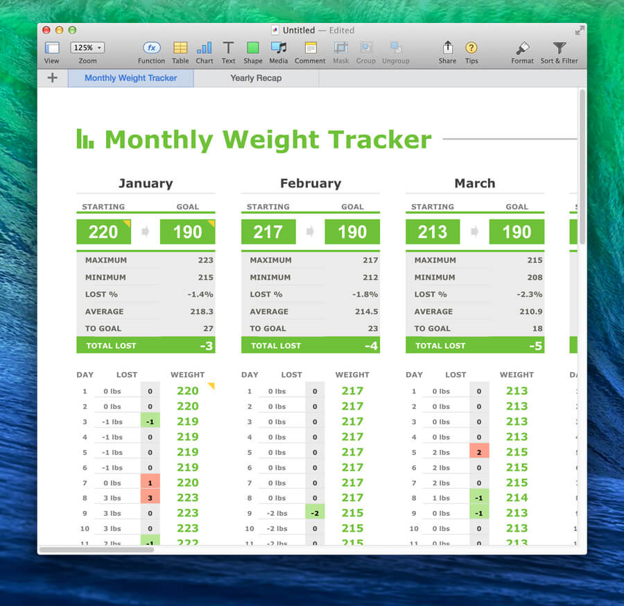 monthly weight tracker template for numbers