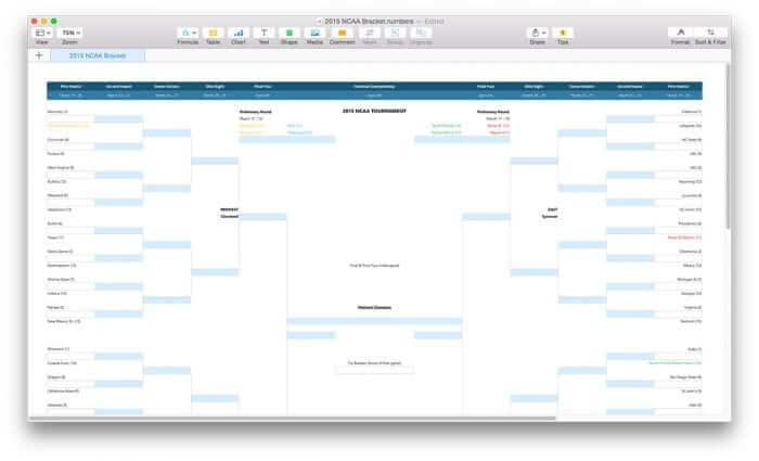 NCAA March Madness Bracket Template for Numbers