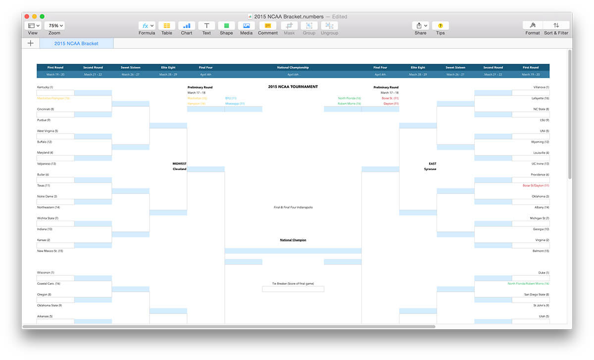 ncaa march madness bracket template mactemplates