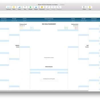 Blank Version of NCAA March Madness Bracket Template for Numbers