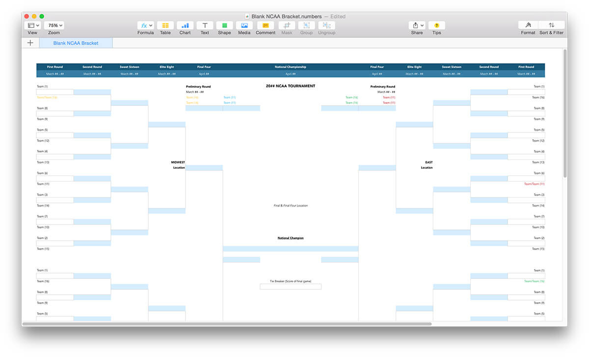 March madness template search results calendar 2015 for Blank march madness bracket template