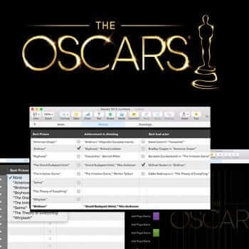 Oscar Night Template for Numbers