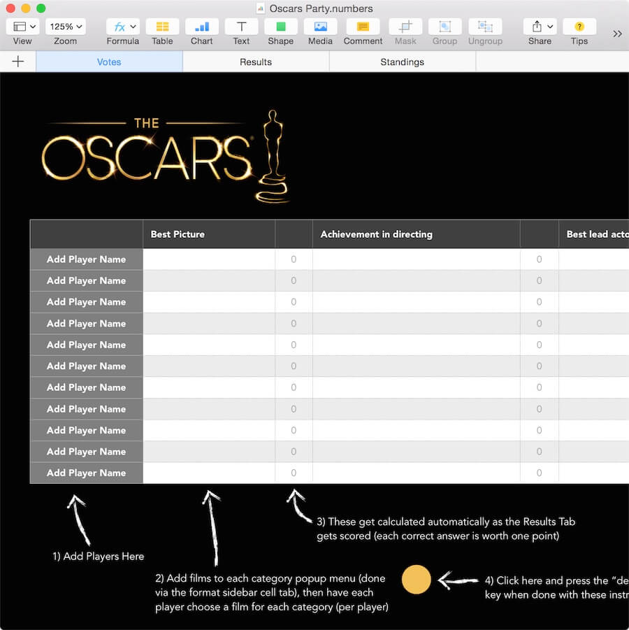 oscars party template for numbers