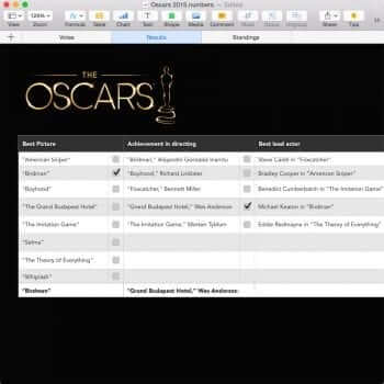 Oscar Party Template for Numbers Example