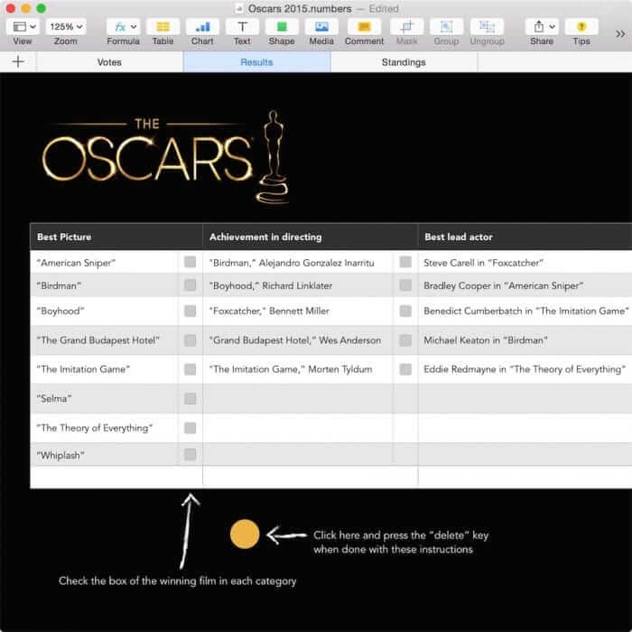 Oscar Party Template for Numbers Instructions