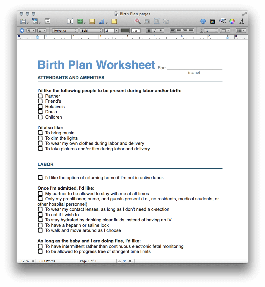 Birth Plan Template Pdf And Pages Mactemplates