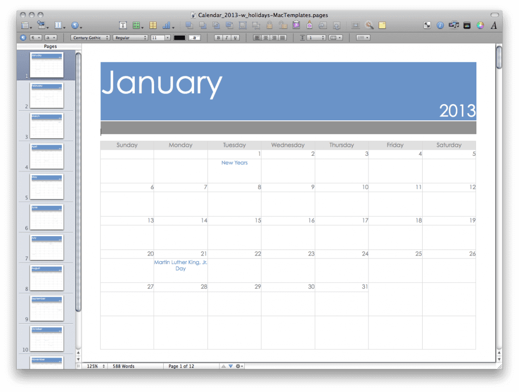 Pages Calendar Template for 2013