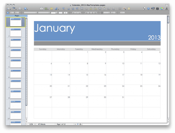 2013 Calendar for Apple Pages
