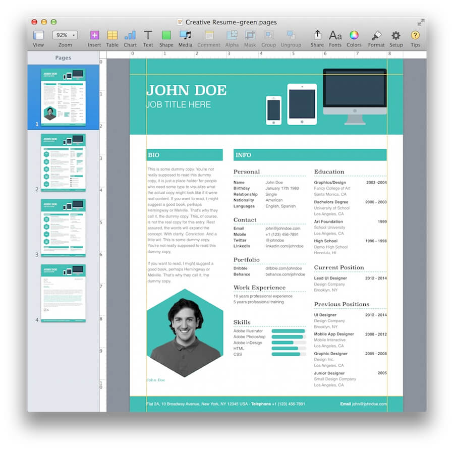 creative resume template for pages mactemplates com creative resume template for pages · pages creative resume 1