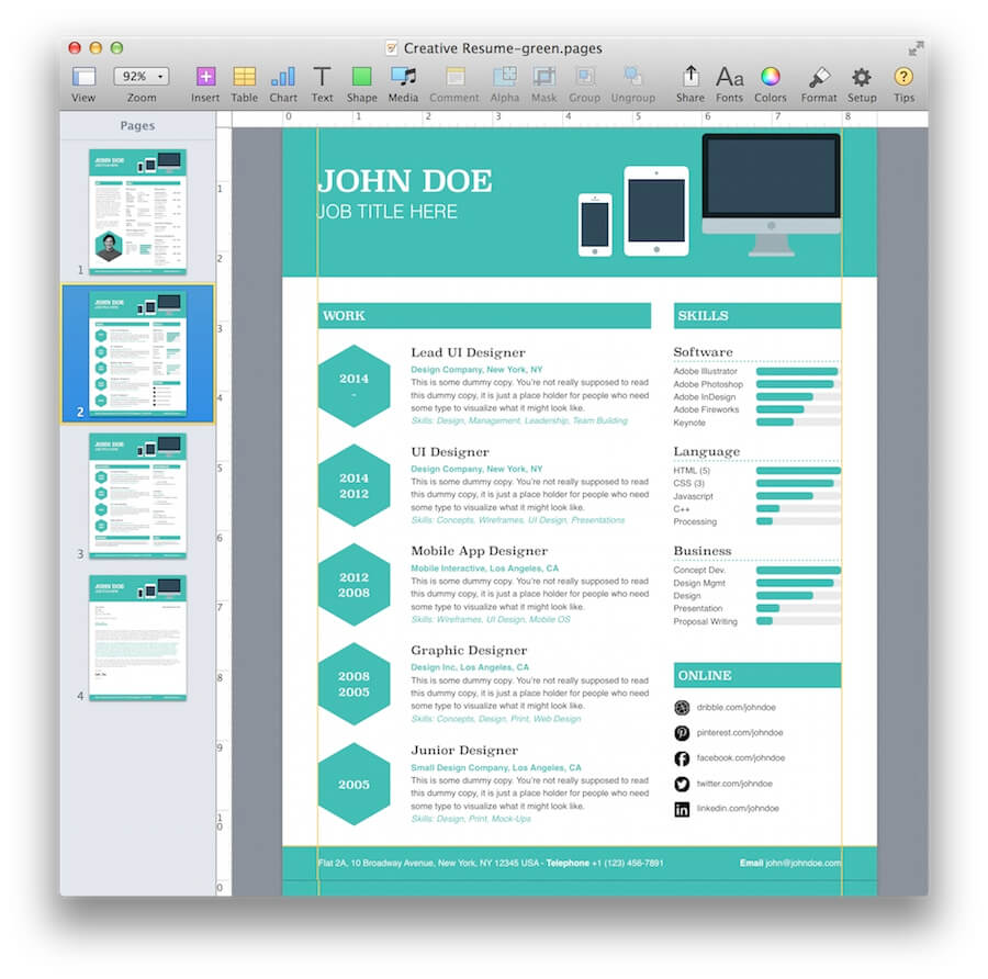 Creative Resume Template  Resume Templates For Mac Pages