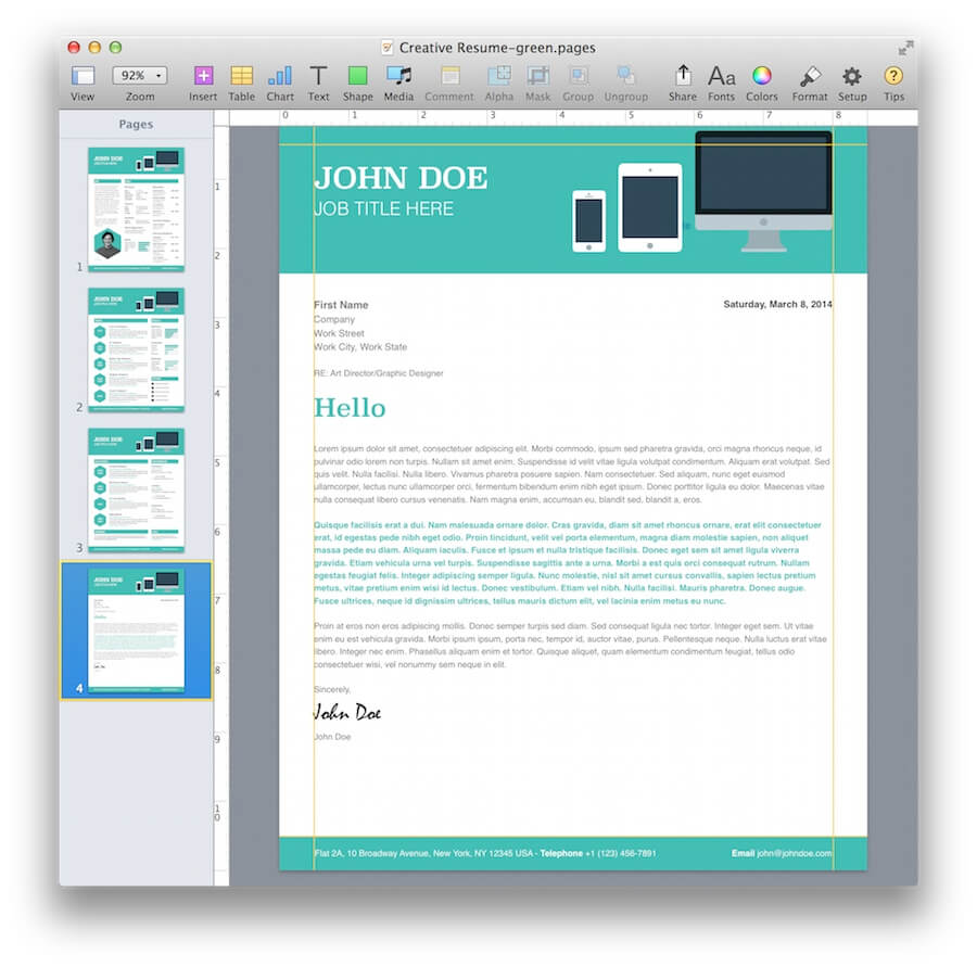 cv pro the best premium resume cv collection template for apple - Resume Templates For Mac Pages
