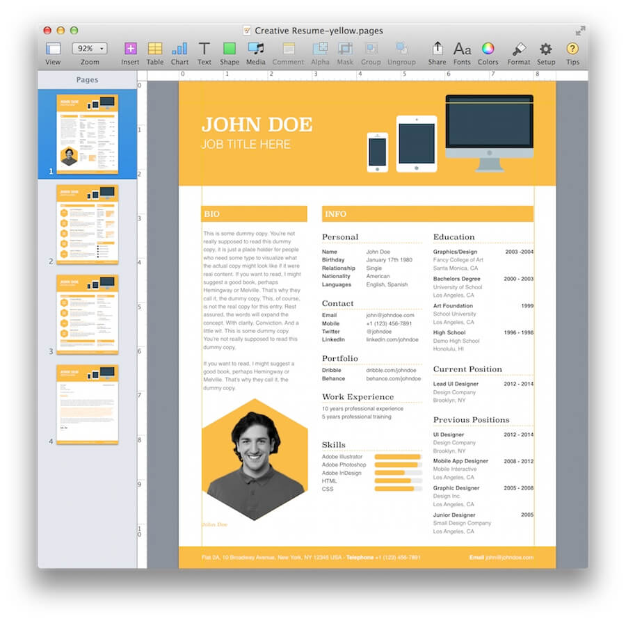 creative resume template for pages mactemplates com pages creative resume 6