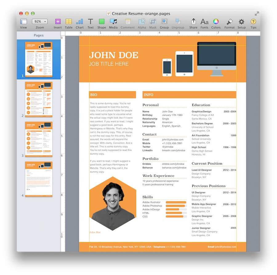 Creative Resume Template For Pages  MactemplatesCom