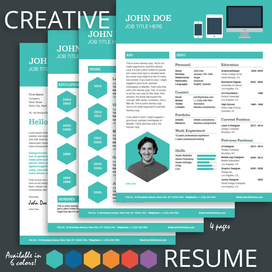 creative resume template for pages
