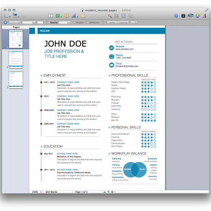 Resume Templates For Mac Pages Resume Template For Mac Pages Mac