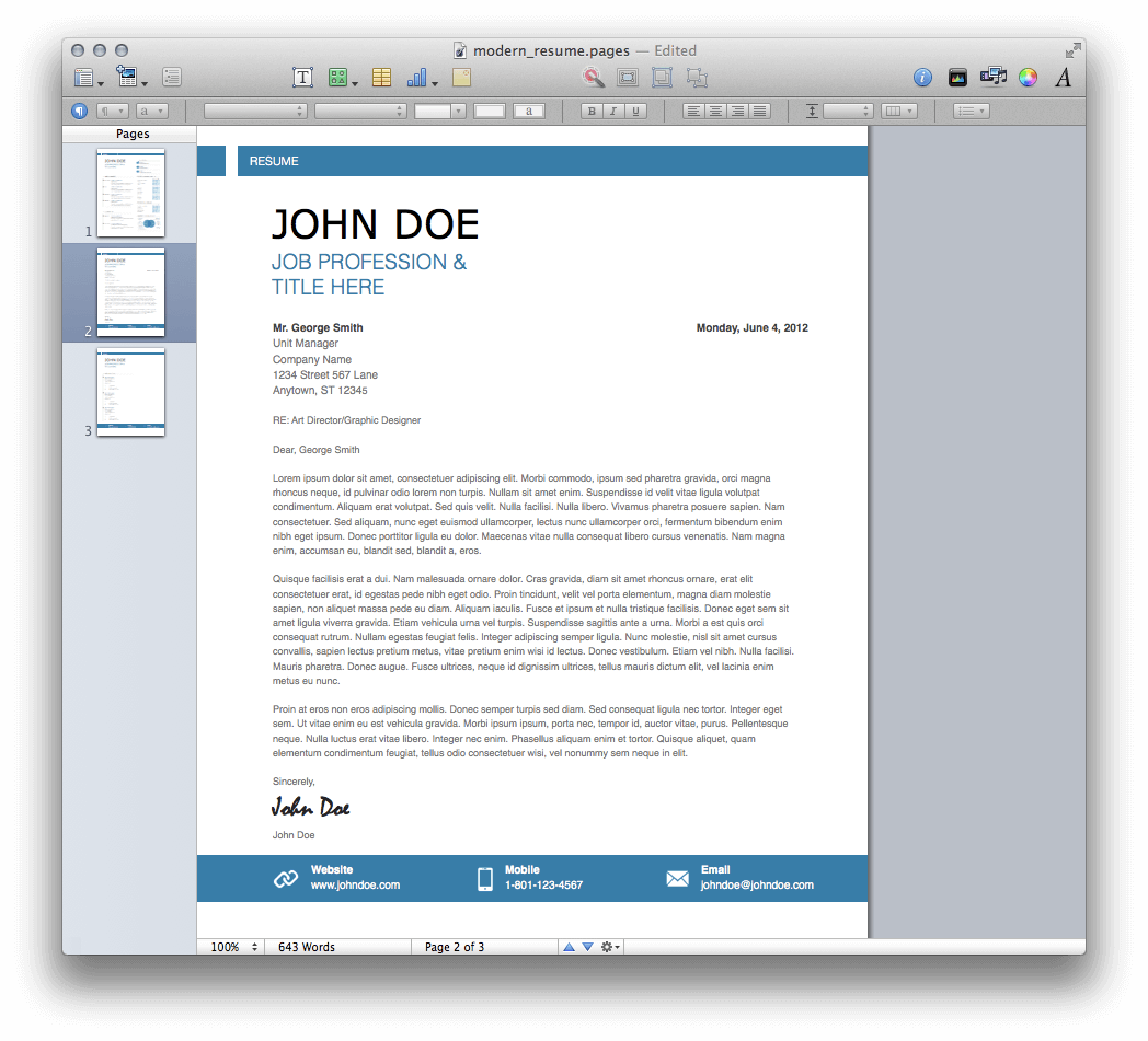 ... Resume Template Mac