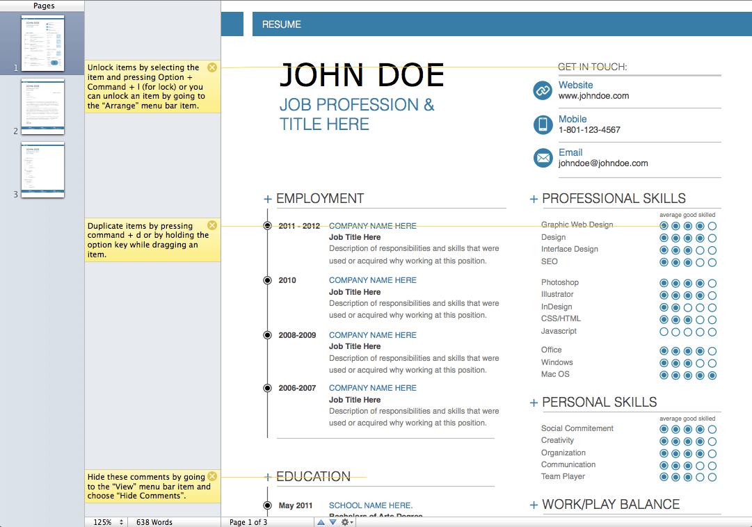 MacTemplates.com Products Pages Modern Resume Template