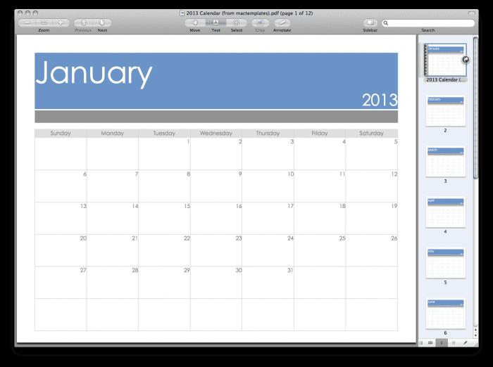 2013 PDF Calendar