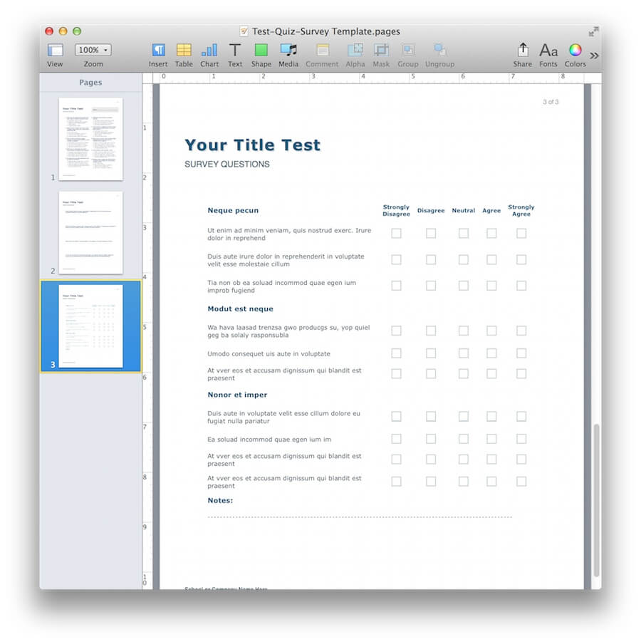 Quiz and Survey Template for Apple Pages - MacTemplates.com