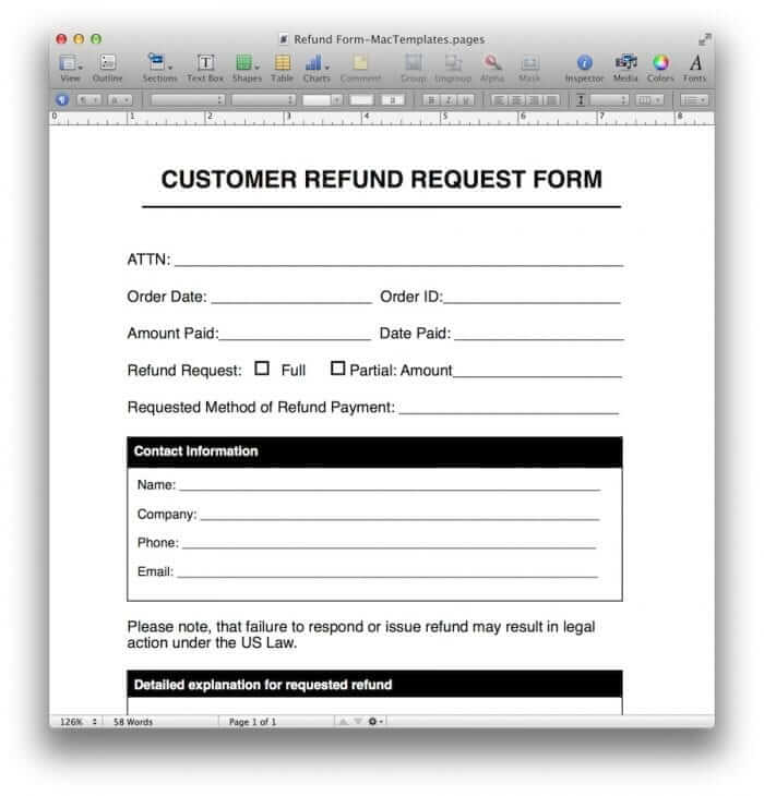 Refund Request Form Template for Pages/PDF