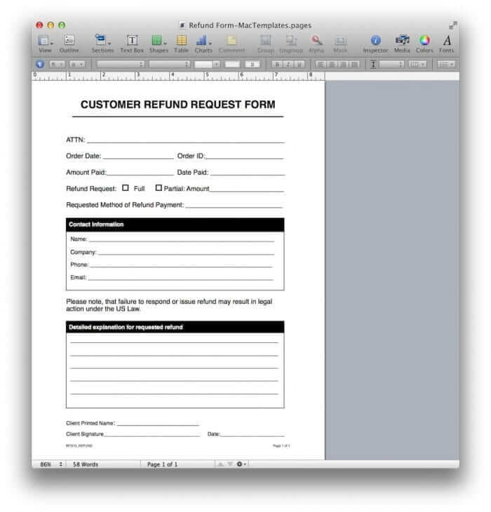 Refund Request Form Template 3
