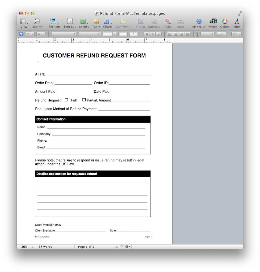 Refund Request Form Template For Apple Pages Amp Pdf