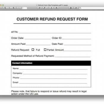 Refund Request Form Template for Apple Pages   PDF  MacTemplates