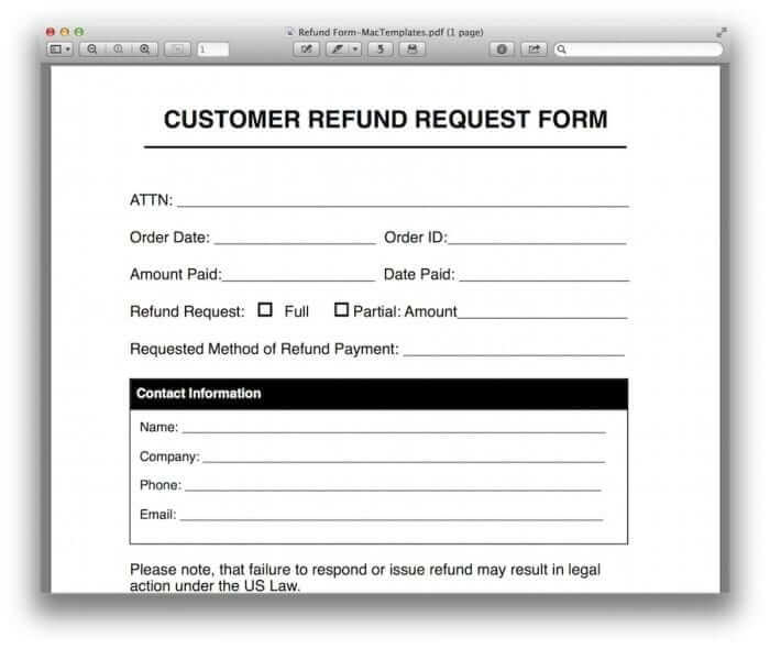 Refund Request Form Template 4