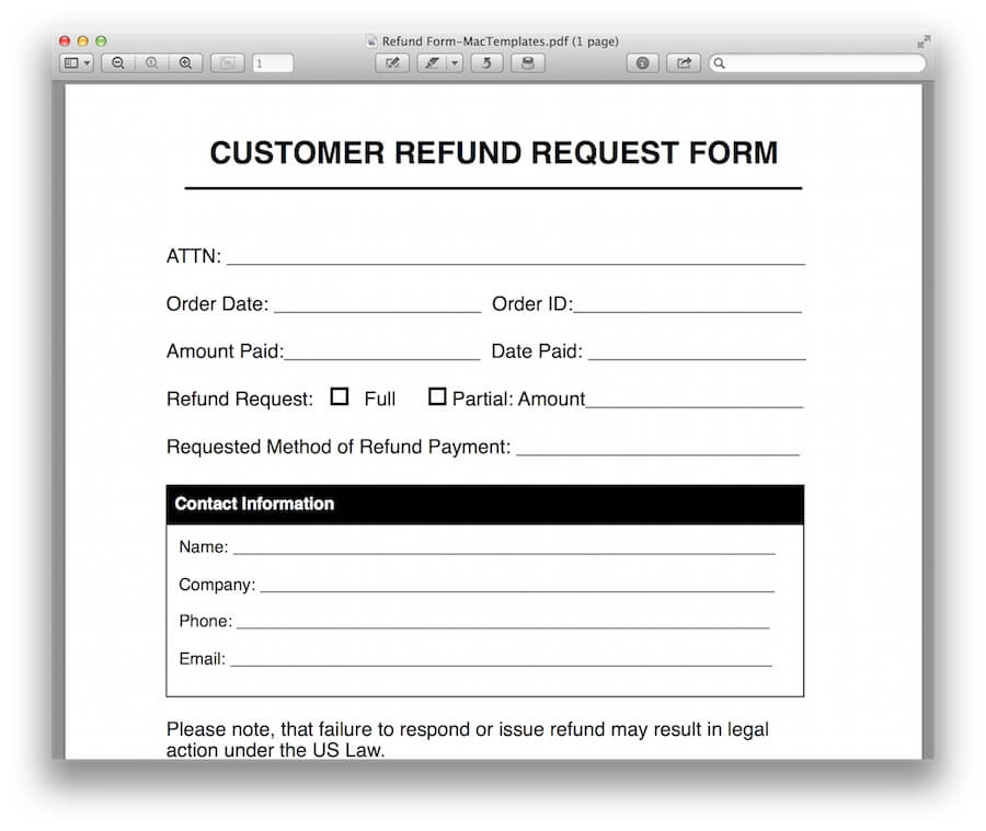 Refund Request Form Template For Apple Pages & Pdf - Mactemplates.Com